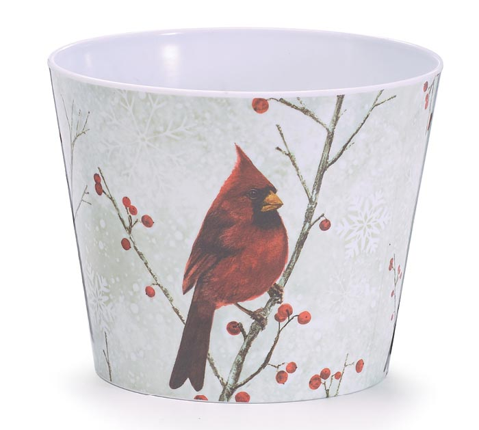 "6"" WINTER CARDINAL MELAMINE POT COVER"