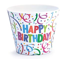 "4"" HAPPY BIRTHDAY MELAMINE POT COVER"