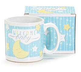 BLUE WELCOME BABY CERAMIC MUG
