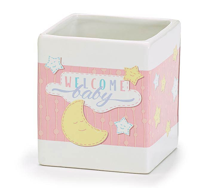 WHITE AND PINK WELCOME BABY PLANTER