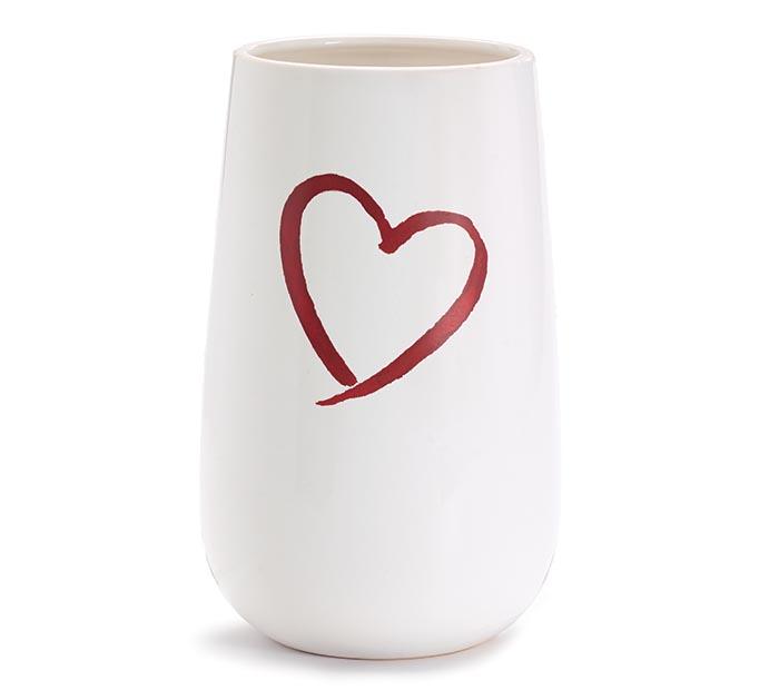 WHITE CERAMIC VASE WITH RED HEART DESIGN
