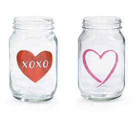 CLEAR QUART SIZE MASON JAR XOXO HEARTS