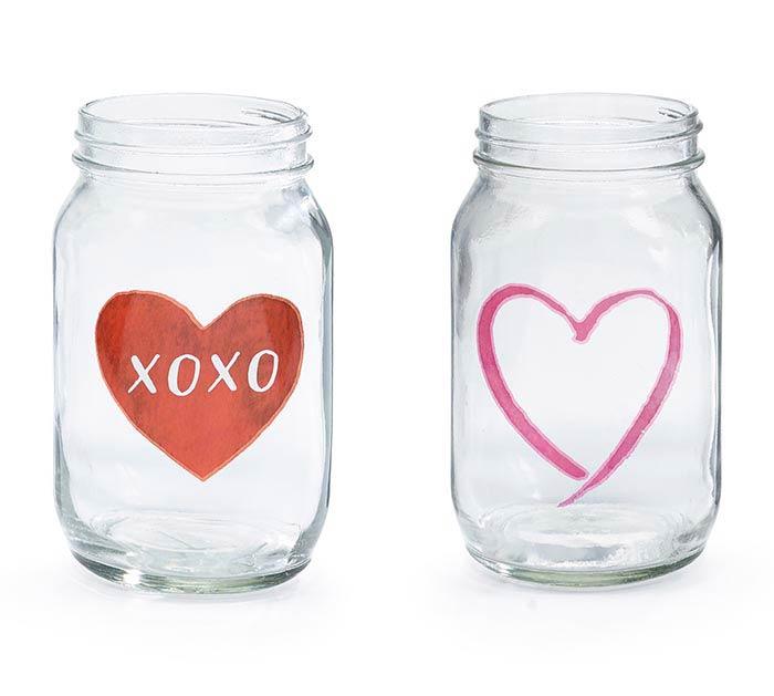 CLEAR QUART SIZE MASON JAR XOXO HEARTS