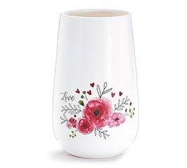 PINK FLORAL ON SMALL WHITE CERAMIC VASE