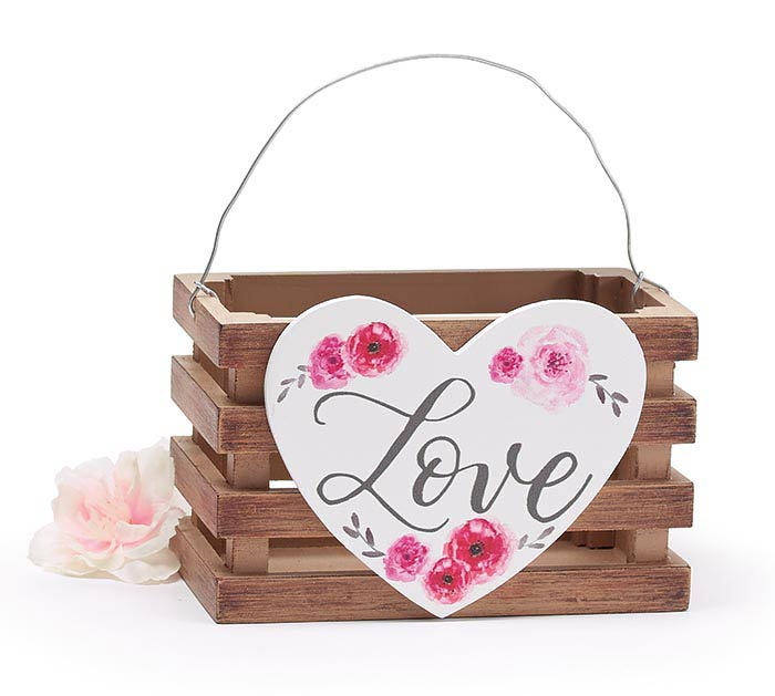 NATURAL WOOD CRATE WITH VALENTINE HEART