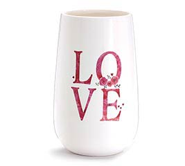 STACKED LOVE FLORAL ACCENT CERAMIC VASE