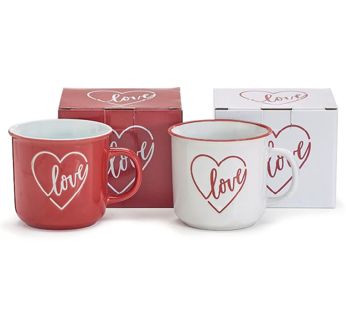 LOVE MUG ASSORTMENT IN RED AND WHITE