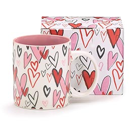 VALENTINE GRAFFITI HEARTS CERAMIC MUG