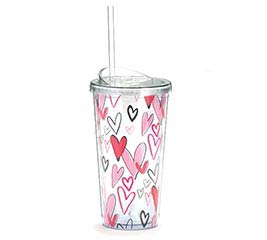 VALENTINE GRAFFITI HEARTS TRAVEL CUP