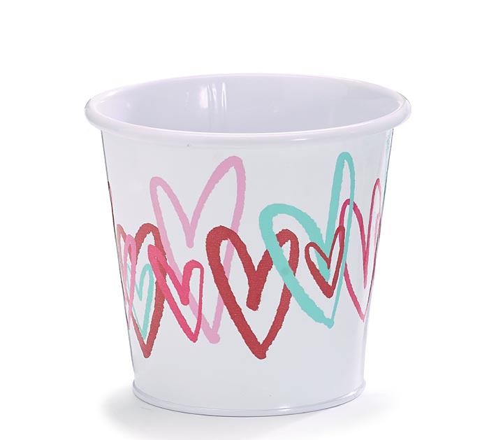 """4"""" TIN POT COVER WITH COLORFUL HEARTS"""