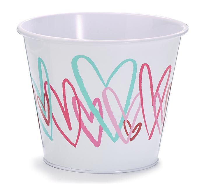 """6"""" TIN POT COVER WITH COLORFUL HEARTS"""