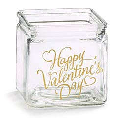 "CLEAR GLASS CUBE 4"" HAPPY VDAY GOLD"