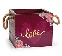 BURGUNDY LOVE PLANTER BOX WITH FLOWERS