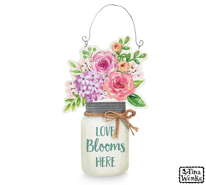 LOVE BLOOMS HERE REVERSIBLE WALL HANGING