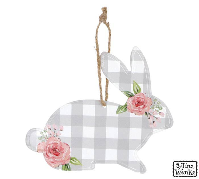 BUNNY SHAPE ORNAMENT WITH ROPE HANGER
