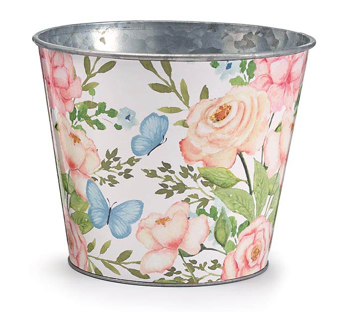 "6"" ROSE AND BUTTERFLY TIN POT COVER"