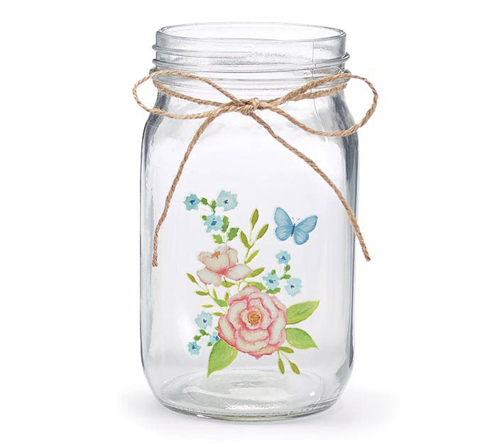 ENGLISH MEADOW FLORAL QUART MASON JAR