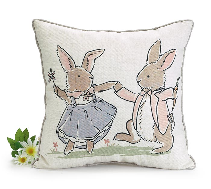 BUNNY COUPLE DESIGN ON SQUARE PILLOW