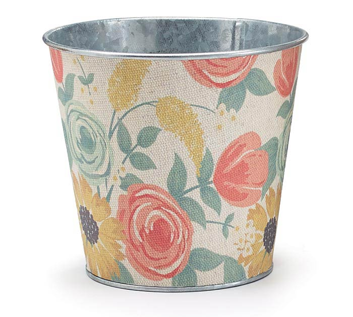 "4"" CORAL AND YELLOW FLORAL TIN POT COVER"