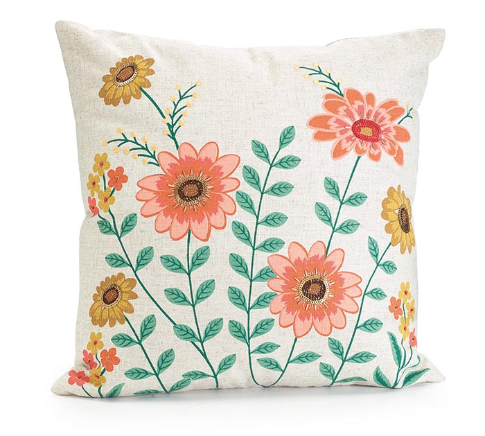 BLOOMING MEADOW FLORAL SPRING PILLOW