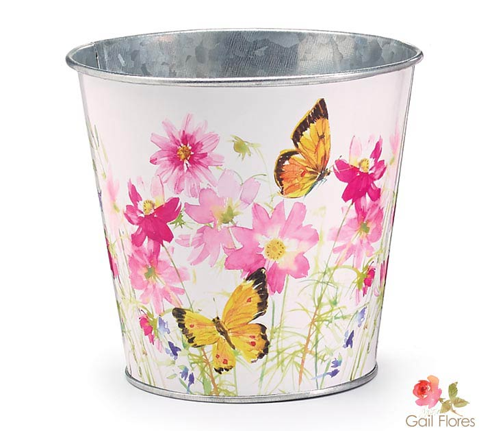 "4"" FLORAL AND BUTTERFLY TIN POT COVER"