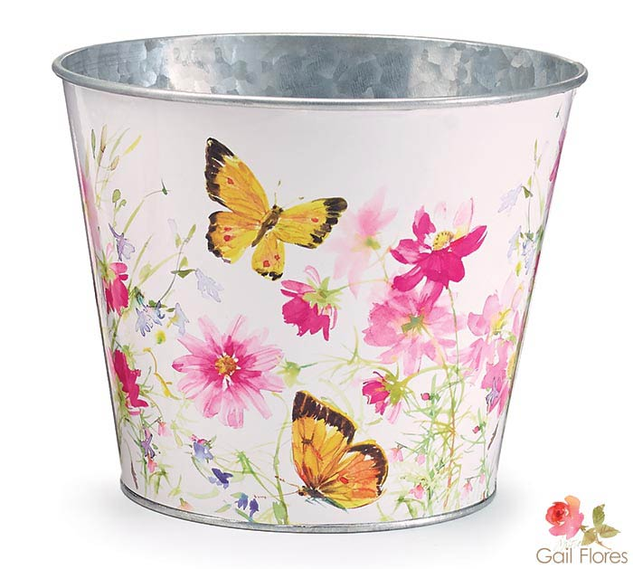 """6"""" FLORAL AND BUTTERFLY TIN POT COVER"""