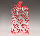 "BOLD RED HEART CELLO BAG 11""H X 5""W"