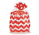 "WIDE RED CHEVRON CELLO BAG 11""H X 5""W"