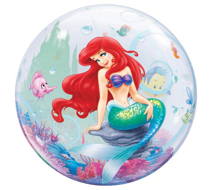 "22"" PKG LITTLE MERMAID ARIEL BUBBLE BAL"