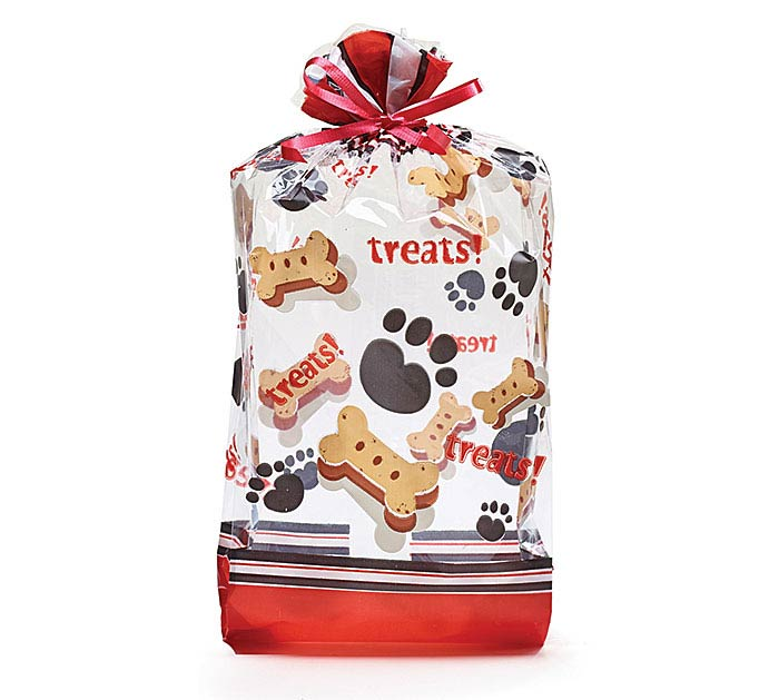 """DOG TREAT AND PAWS CELLO BAG 11""""H X 5""""W"""