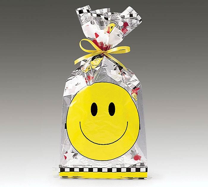 """SMILEY FACE CELLO BAG 11""""H X 5""""W"""