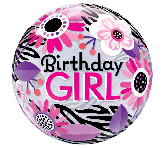 "22"" PKG BIRTHDAY GIRL BUBBLE BALLOON"