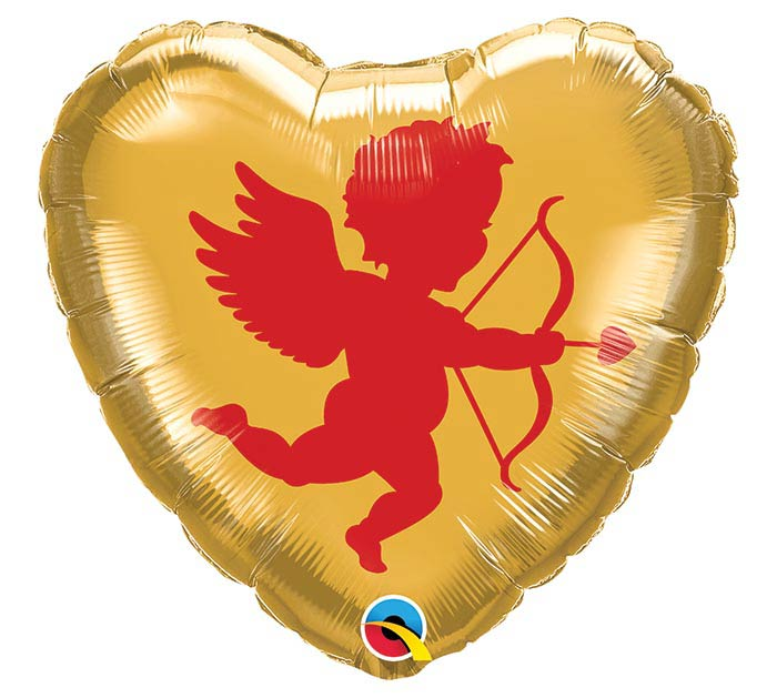 """18"""" CUPID RED AND GOLD HEART"""