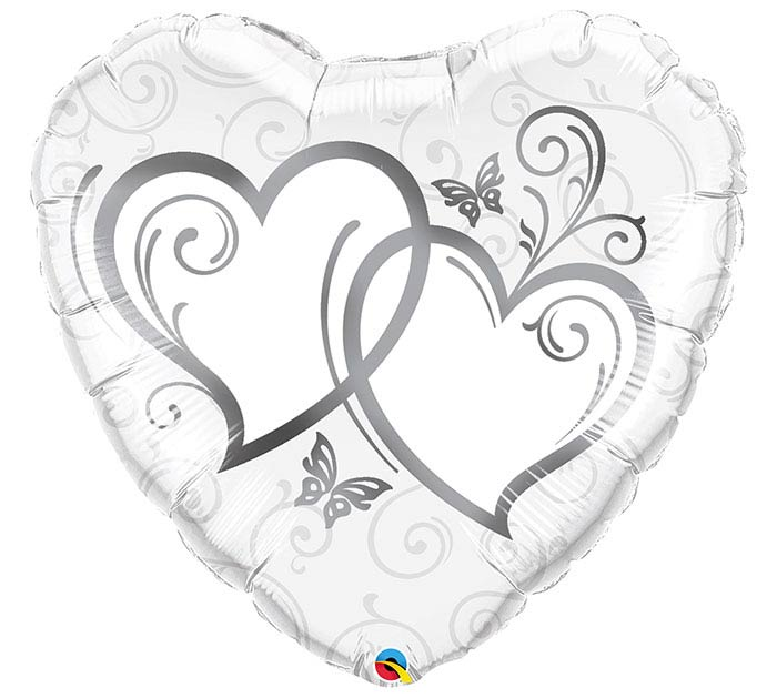 """36""""PKG LUV SILVER ENTWINED HEARTS"""