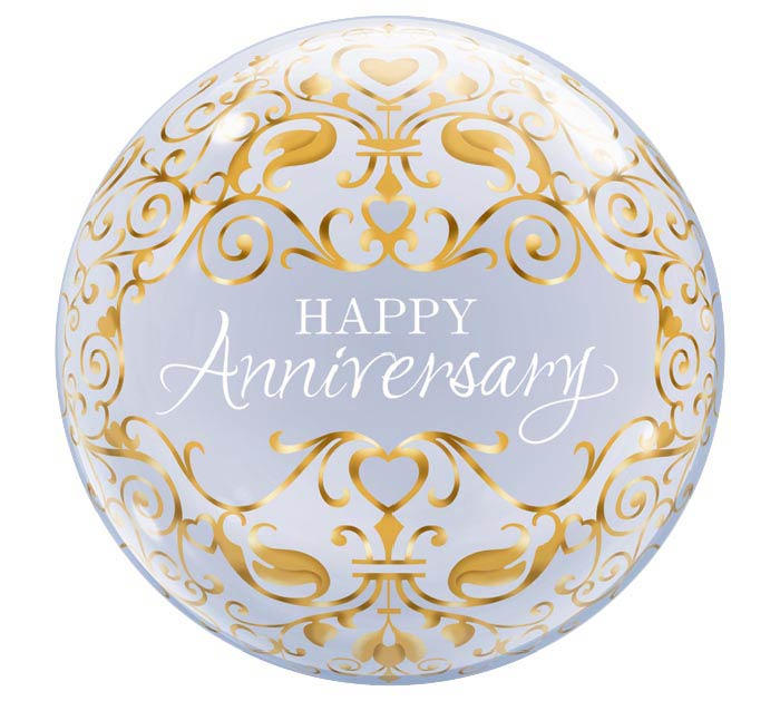 "22"" PKG HAPPY ANNIVERSARY BUBBLE BALLOON"