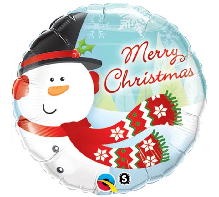 "18"" MERRY CHRISTMAS SNOWMAN BALLOON"
