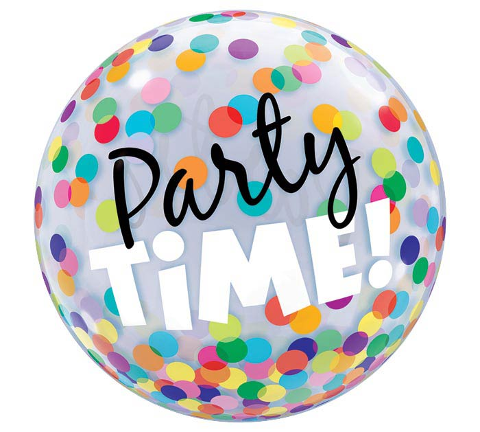 "22"" PKG PARTY TIME BUBBLE BALLOON"