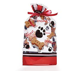 "DOG TREAT AND PAWS CELLO BAG 7""H X 3""W"