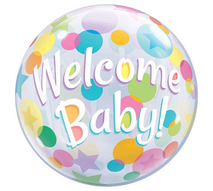 "22"" PKG WELCOME BABY BUBBLE BALLOON"