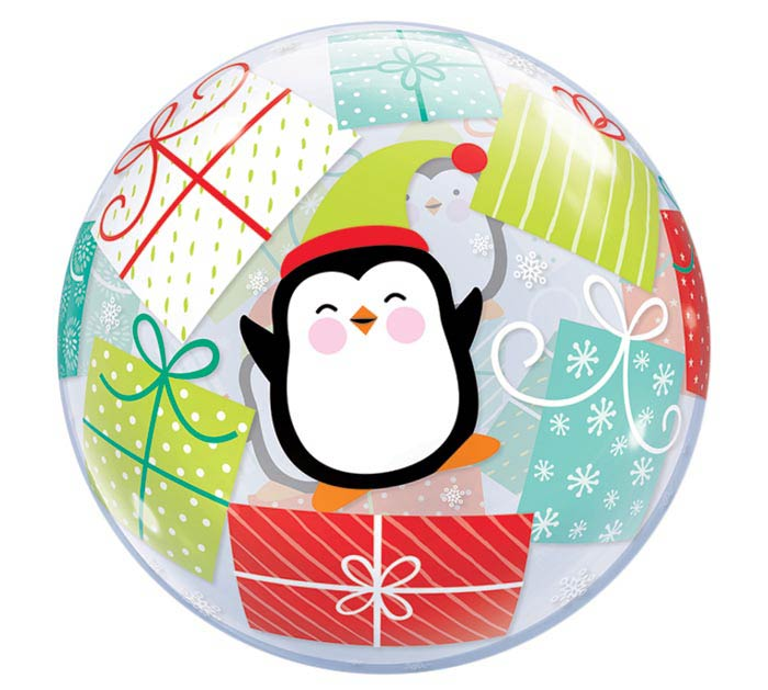 "22"" PKG CHRISTMAS PENGUINS BUBBLES"