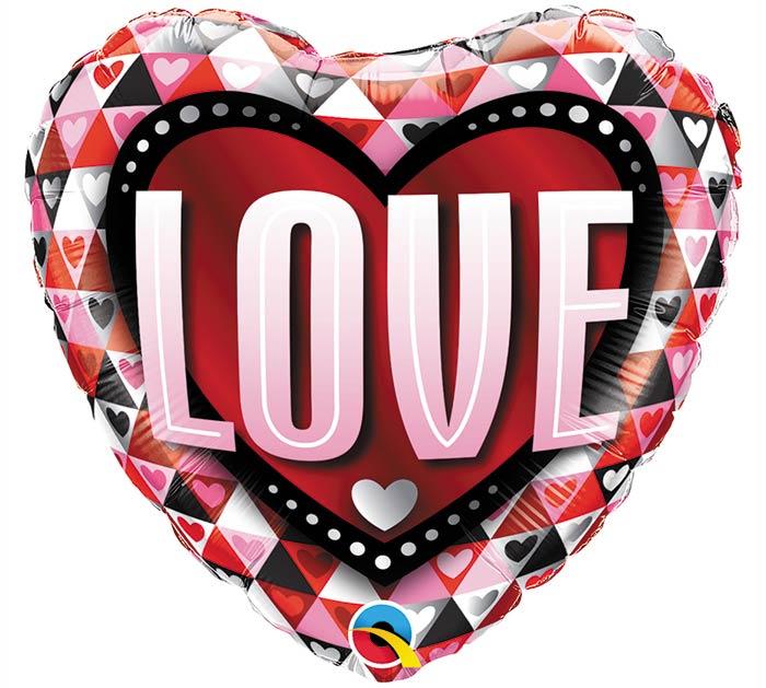 "18""LUV LOVE TRIANGLES HEART SHAPE"