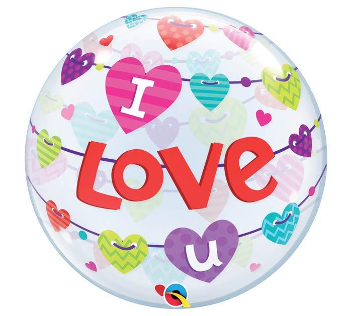 "22""PKG I LOVE U BANNER HEARTS BUBBLE"