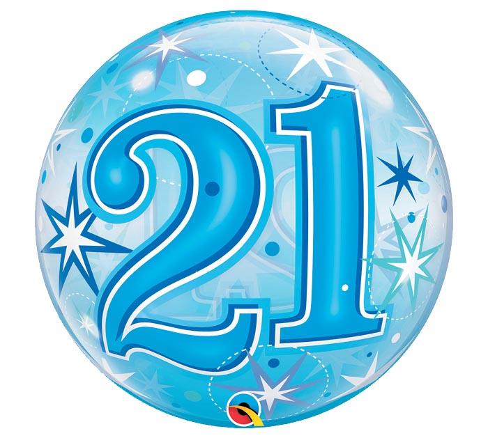 """22""""PKG HBD 21 BLUE STARBURST BUBBLE"""