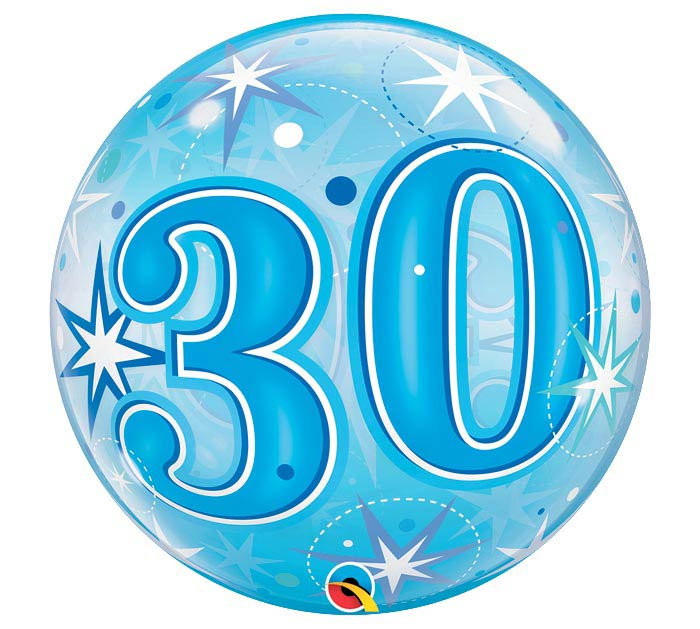 """22""""PKG HBD 30 BLUE STARBURST BUBBLE"""