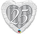 "18""PKG ANN 25TH DAMASK ANNIVERSARY HEART"