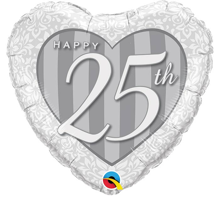 "18""PKG ANN 25TH DAMASK ANNIVERSARY HEART"