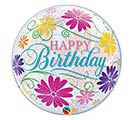 "22""PKG HBD FLOWERS  FILIGREE BUBBLE"