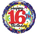 "18""PKG HBD 16TH BIRTHDAY STARS"