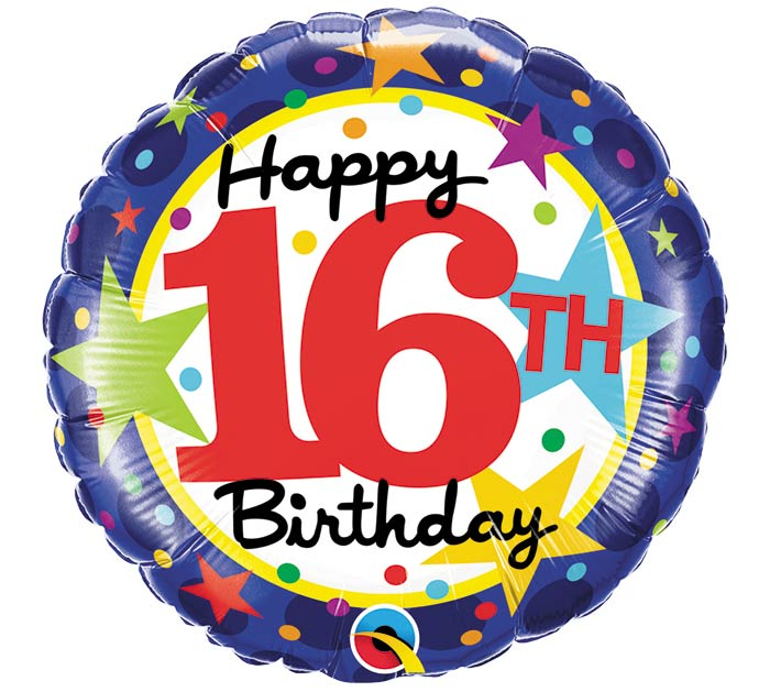 "18""PKG HBD 16TH BIRTHDAY STARS"