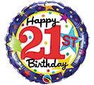 """18""""PKG HBD 21ST BIRTHDAY STARS"""